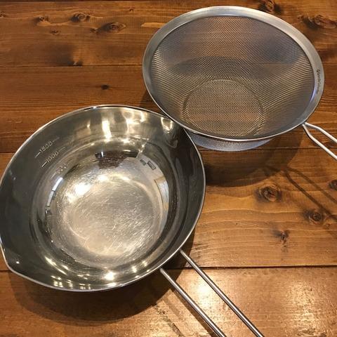 我が家の調理道具6ザルとボウル柄付き