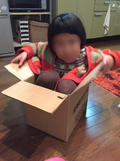 段ボールに入った子供5歳3カ月