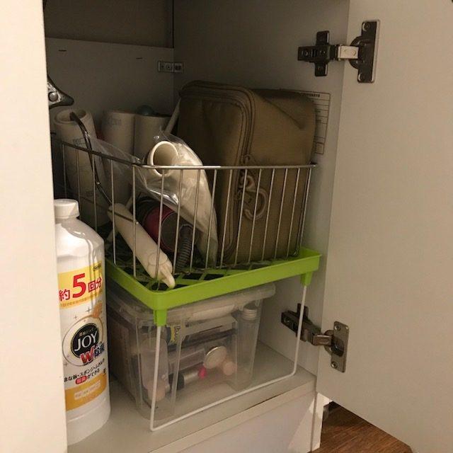 不要な水切りかごを洗面所の収納に再活用