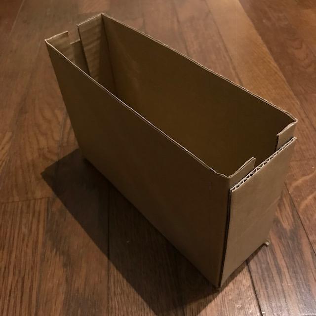 ダンボールで収納ボックスを作ってみた完成