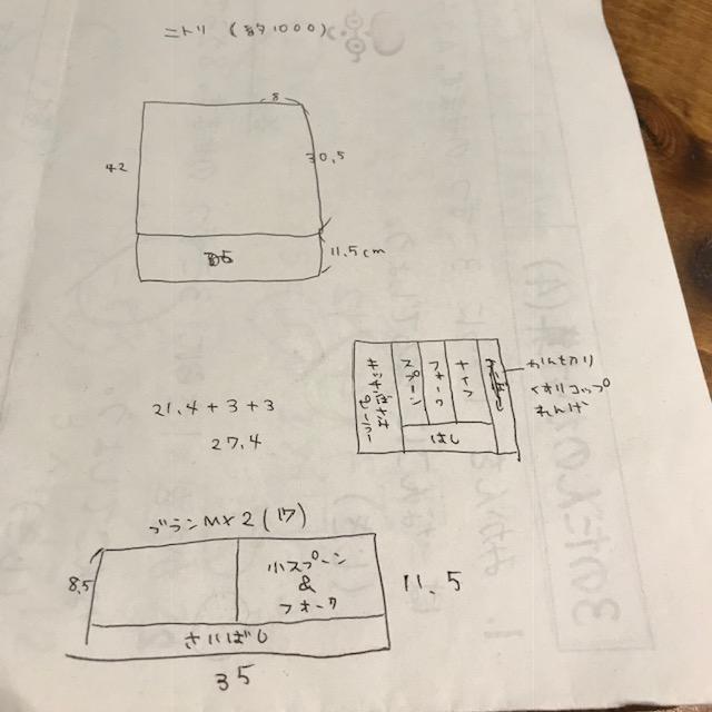 ニトリブランカトラリートレー収納イメージ図