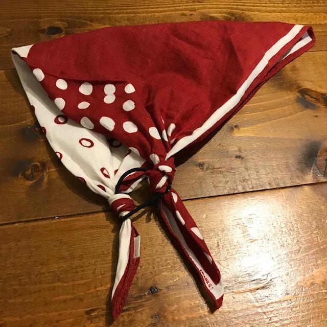 バンダナでゴム付き三角巾の作り方完成図