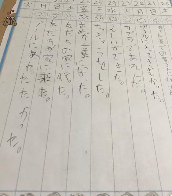 小学生の夏休み日記字が雑過ぎる