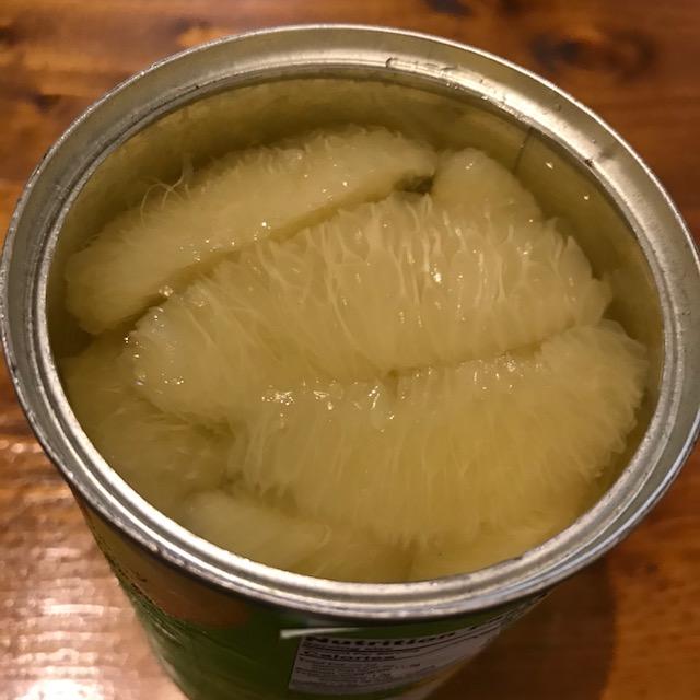 カルディで発見グレープフルーツの缶詰を開けたところ