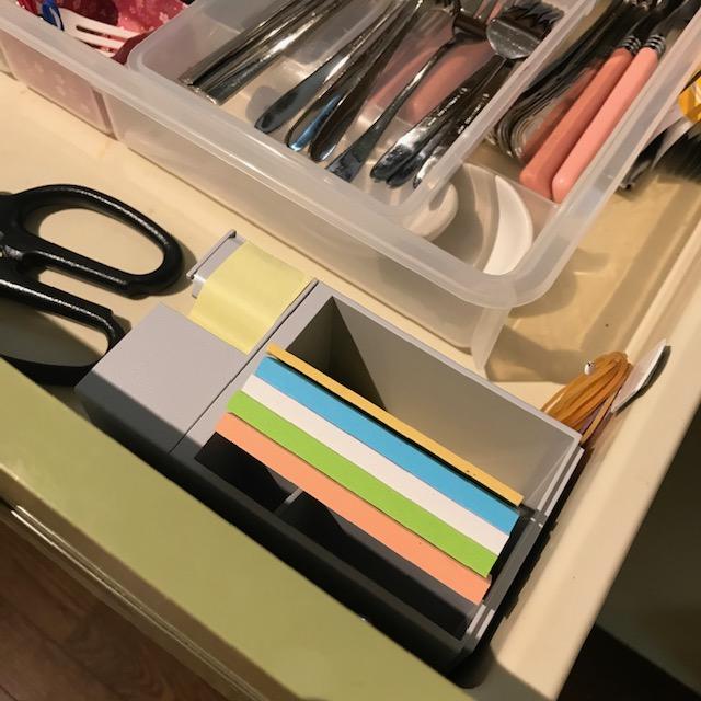 キッチンの引き出しに付箋用収納ケース向きに注意