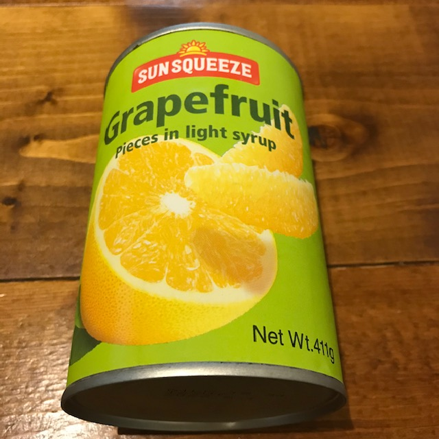 カルディで発見グレープフルーツの缶詰パッケージ