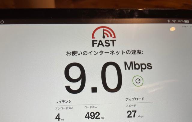 タブレットFireHD8インターネット回線速度